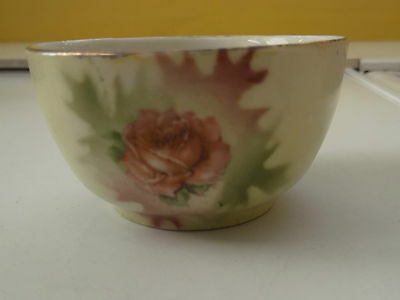 Small Possibly Victorian Bowl  With A Pink Rose Flower On One Side No Maker
