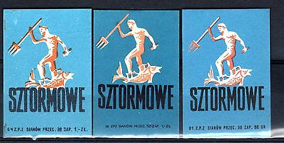 MATCHBOX LABELS-POLAND- Storm matches x3, 1961-66
