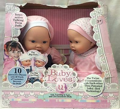 Baby Loves U Interactive Talking Twin Dolls 10 Interactive Phrases A1+ Brand New