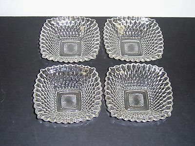 """4 Indiana Glass 4.75"""" Square Clear Diamond Point Bowls Dessert Candy Dishes"""