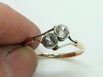 Antique Edwardian Delicate White Stone & 9ct Gold Ring UK 'P/Q' US '8'
