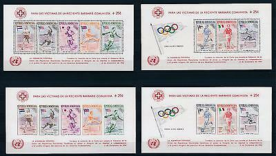 [36914] Dominican Republic 1957 Olympic games Red ross UN Souvenir Sheets  MNH