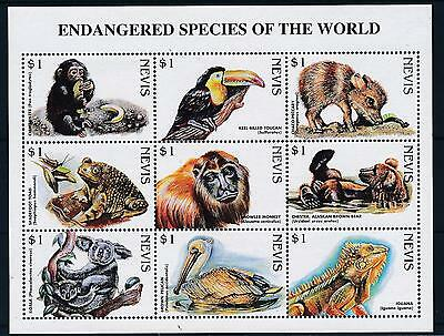 [35159] Nevis 1998 Endangered Animals Frog Koala Monkey MNH Sheet