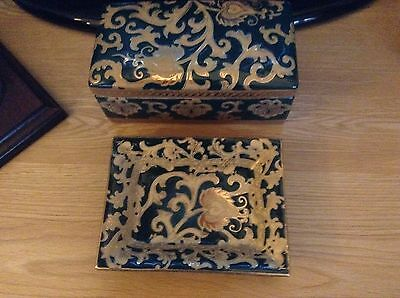 Vintage China/Porcerlain Box & Matching Dish Collectables