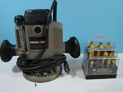 Porter Cable Model #7529 Plunge Router and Set Of Buffalo Router Bits