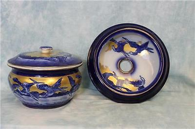 Antique Flow Blue Chamber Pot with Lid Matching Semi Porcelan Sink Powder Room