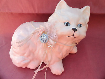 White Porcelain Vintage Longhair Cat Kitsch Ceramic Figure Shabby Chic