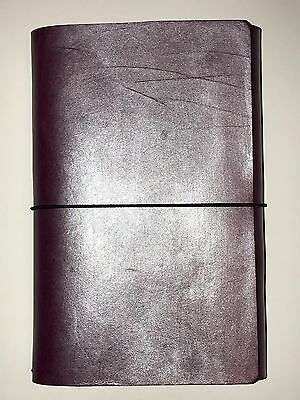 Chic Sparrow Pear Amethyst Leather Tri-fold Cahier Moleskine Traveler's Notebook