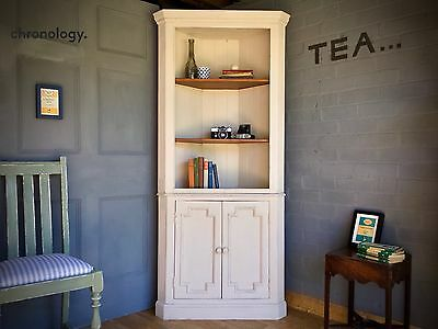 Vintage Corner Dresser Cabinet Cupboard | Chalk Painted | Farmhouse Shabby Chic