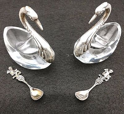 Albo Echt Silber - 2 crystal swan salter cellars with sterling spoons