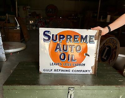 Original Porcelain 1930's Gulf Gasoline Auto Oil Advertising Flange Sign!