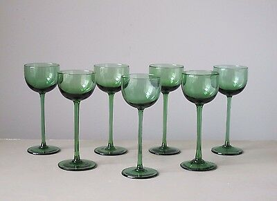 Vintage Hand Blown Green Wine Cocktail Glasses, Set of (7)
