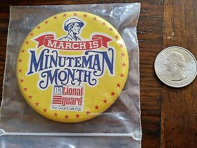 March is Minuteman Month National Guard Button, Large, Pinback