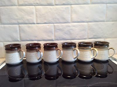 Set Of 6 Brown Coffee Mugs