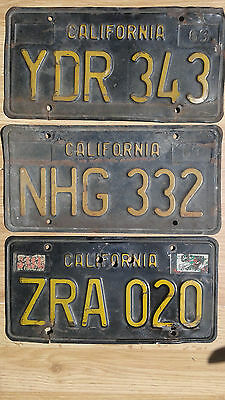 Vintage Black California State License Plate's Lot of 3