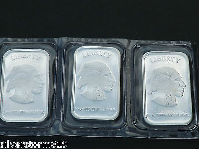 1 troy oz 999 fine silver Liberty Buffalo Bar sealed from the Mint