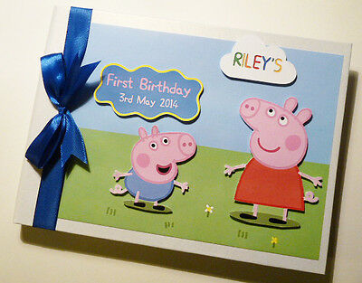 Personalised Peppa Pig Girl /boy First/1St Birthday Guest Book - Any Design
