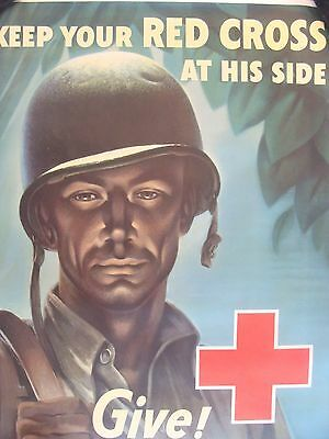 ORIGINAL   Red Cross Poster  BIG 22''x 28'' WWII Military   NOT A REPRODUCTION