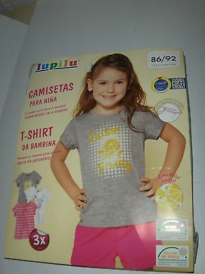 Pack New 3 x t shirt girls top 12  24 months lupilu 1 2 years pink stripe lemon