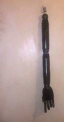Vintage Art Deco Stained Wood Life-Sized Mannequin Arm  Poseable Jointed Hand