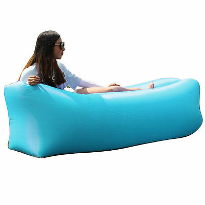 Inflatable Air Bag Lounger Sofa Bed Portable Chair Sleeping Camping Color Blue