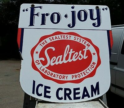 Fro Joy Sealtest Ice Cream advertising porcelain sign Double sided. 1920s
