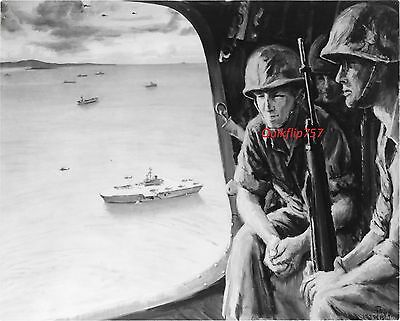 "U.S NAVY REAL PHOTO - ""Helicopter Going In Vieques"" Vietnam - Combat Artist Art"
