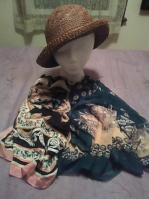 Stylish Straw Hat and Pretty Floral Scarves Accessories Lot - 3 pcs