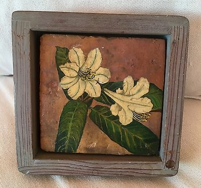 Vintage HandCrafted Hand-Painted Clay Tile Flower Design purchased in Hawaii