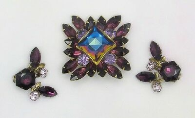 Vintage Judy Lee Purple & Pink Rhinestone Heliotrope Brooch and Clip-On Earrings