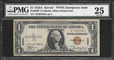 Fr#2300* 1935A $1 Hawaii Silver Certificate STAR Note PMG 25 VF