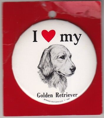 Charming 3-Inch Pin Showing Your Love for Your Golden Retriever, Original Card