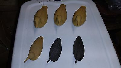 2 black painted & 4 unpainted waterfowl (loons and grebes?), small and medium