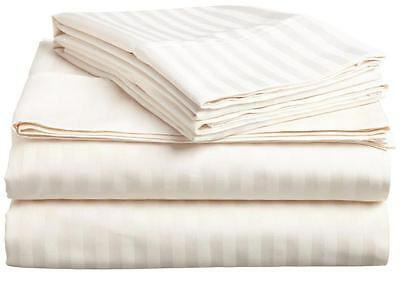 King Size Ivory Striped Bed Sheet Set 800 Thread Count 100 Egyptian Cotton