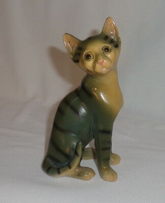 Cat figurine ornament sad face grey with stripes