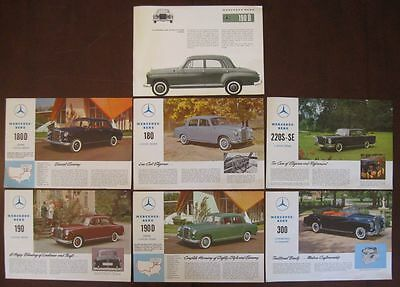 Collection of 7 Vintage 1959 MERCEDES Sales Brochure Flyers (Individual Sheets)