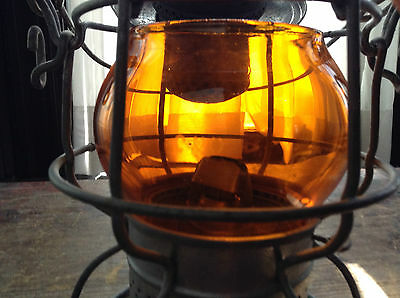 Antique C & O Adlake Railway Lantern Rare Amber Glass Globe -Chesapeake & Ohio