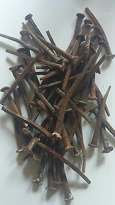 50. Small NAILS used bent rusty old antique. 1 inch long 1800s