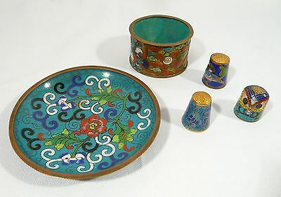 5 pce Cloisonne Champleve NAPKIN RING Small CHINESE Plate Pin DISH 3 THIMBLE OWL