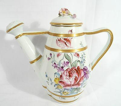 Antique Limoges Vincennes Sevres China WATERING CAN Dresden Spray Flowers 1890's