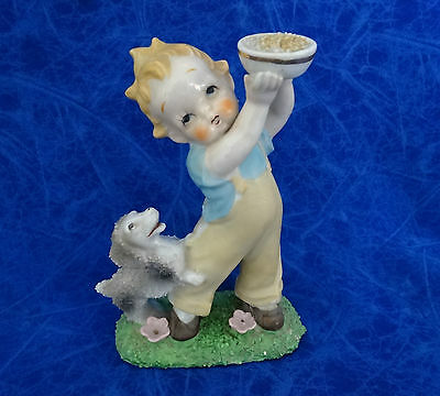 Very Old Vintage Figurine Boy And His Dog  11.5Cm High