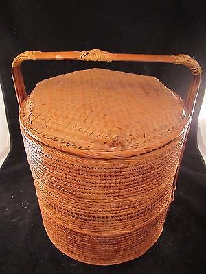 Chinese Wedding Basket 3-Tier Wicker w/ Bamboo Frame & Lid