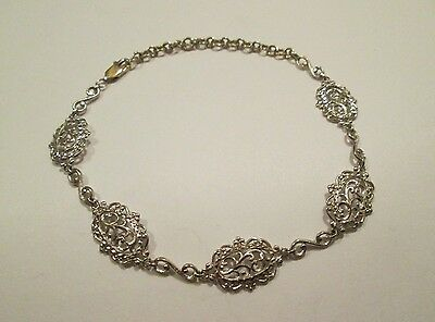 14K White Gold Bali Lace Filigree Diamond Cut Antique Style Bracelet!  8 Inch