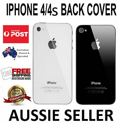 New Battery Cover Back Glass Rear Panel Replacement for Apple iPhone 4 4S B&W