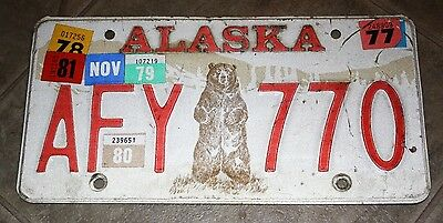 Original Grizzly Bear Alaska Vehicle (Afy 770) License Plate Used 1977-1981