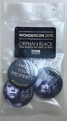 ORPHAN BLACK Rare Set of 3 Promo Buttons / Pins WONDERCON 2015 Sealed CLONE CLUB