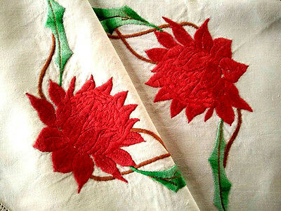 RARE Australian Red Waratahs ~ Vintage Raised Huge Hand Embroidered Centrepiece