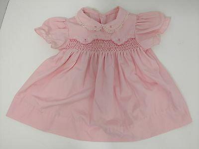 Vintage Smocked Dress Pink Floral Collar W Lace 6 Months Summer Infant Baby Girl