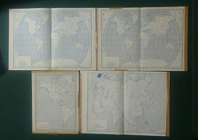 lot of 4 nystrom desk maps new world Asia vintage paper