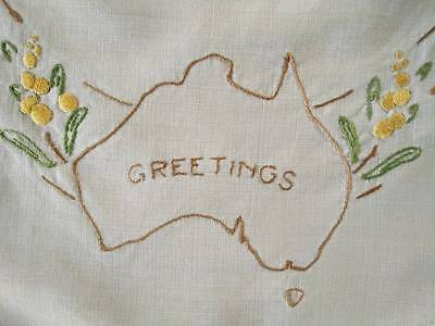 Australian Map 'Greetings' & Golden Wattle ~ Lge Vintage Hand Embroidered Centre